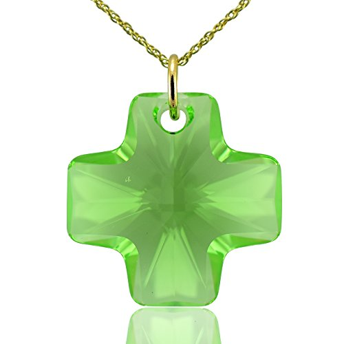 Collana croce in oro massiccio 9e cristallo Swarovski di Olivina Verde