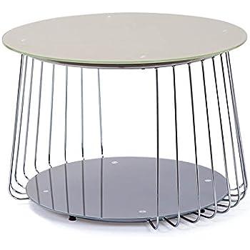 design beistelltisch 70 cm aus glas satiniert cappuccino mit ablage k che haushalt. Black Bedroom Furniture Sets. Home Design Ideas