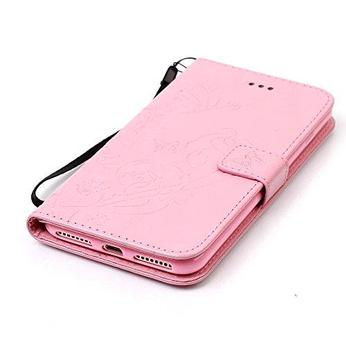 KATUMO® Grau Apple iPhone 7 Plus, iphone 8 plus Hülle, iphone 8 plus Cover Case, PU Leder Handy Tasche Schutzhülle mit HandyHülle für Apple iPhone 7/8 Plus ( 5.5 Zoll) Etui Schale Cover Pink