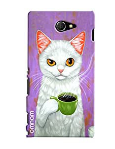 Omnam Cat Drinking Tea Printed Designer Back Cover Case For Sony Xperia M2