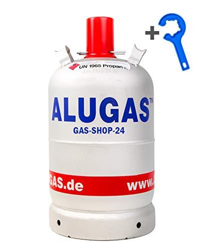 ALU Propangasflasche/Gasflasche/Alugas 11 kg mit Quicktool (Propan, Gasflasche f. BBQ Camping Leichter als 5 kg / 11 kg Stahlflaschen)