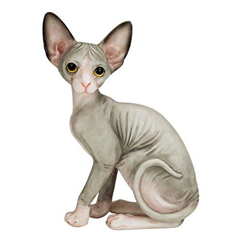 Estatua Pintada a Mano de Gato Esfinge de 10,5 cm.      Esta escultura del Gato Esfinge mide 10,5cm 8cm y su peso es de 150g. A diferencia de algunas otras esculturas, ésta no es hueca, sino sólida.    -   Una vez que el diseño está termi...