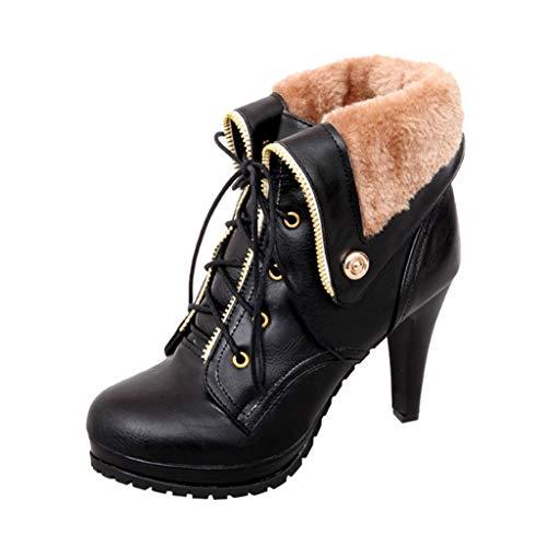 Kriosey Damen High Heels Schuhe Stiefel mit Riemen Stiefeletten Plateau Boots mit Blockabsatz Schnallen Winterstiefel Wasserdicht Warm gefütterte Winterschuhe Winter Kurzschaft Stiefel Boots Schuhe