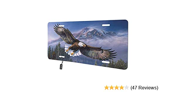 Beabes Bald Eagle Flying in The Sky Front License Plate Cover,Mountain Snow Forest Trees Wings Decorative License Plates for Car,Aluminum Novelty Auto Car Tag Vanity Plates for Men Women 6x12 Inch