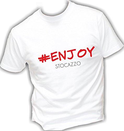 T-shirt UOMO cotone BASIC super vestibilità top qualità - #ENJOY enjoy vacchi siffredi vip NOVITA' divertenti humor MADE IN ITALY (L, BIANCO)