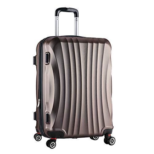 Hartschalen Koffer Trolley Rollkoffer Reisekoffer Erweiterbar 4 Rollen Coffee L -