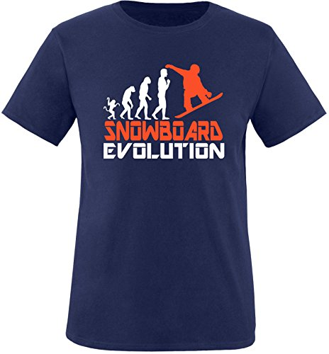 EZYshirt® Snowboard Evolution Herren Rundhals T-Shirt Navy/Weiss/Orange