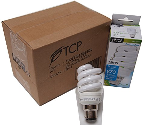 6 confezione da 14 W (=  W) CFL a spirale con attacco a baionetta Bright Full Spectrum Energy Saver naturale Cool Daylight (6500 K) BC B22 Good for triste da disordine affettivo stagionale)