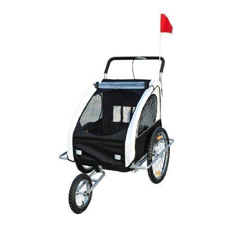 Remolque para Niños DOS PLAZAS con Amortiguadores Carro para Bicicleta CON BARRA INCLUIDA y Kit de Footing COLOR BLANCO y NEGRO