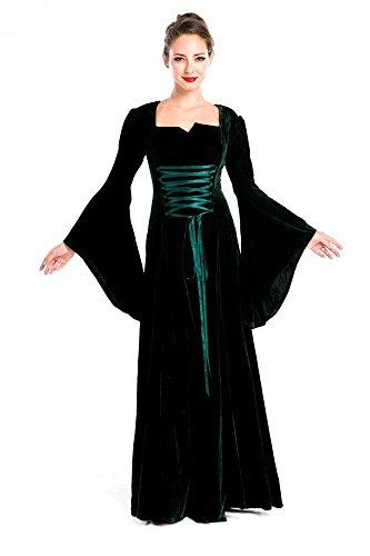 Mittelalter Kostüm Burgfräulein dunkelgrün Samt Gr. 36/38 (Ritter Und Burgfräulein Kostüme)