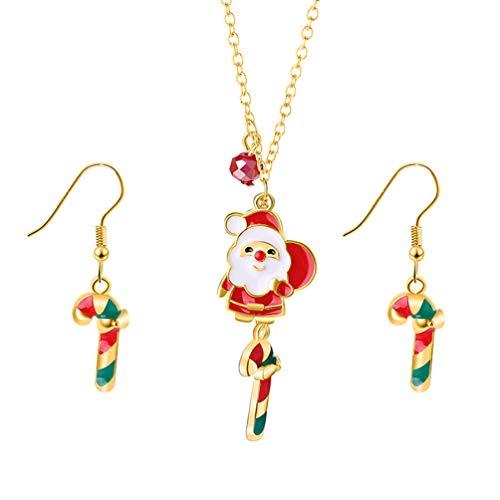 Amosfun 3 Piezas Navidad Santa Collar Arete Navidad