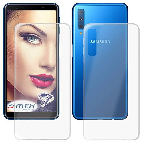 mtb more energy® Schutz-Hülle Twin Eco (Vorder- und Rückseite) für Samsung Galaxy A7 2018 (SM-A750FN/DS, 6.0'')   360 Grad Rundumschutz   TPU Case Cover Tasche
