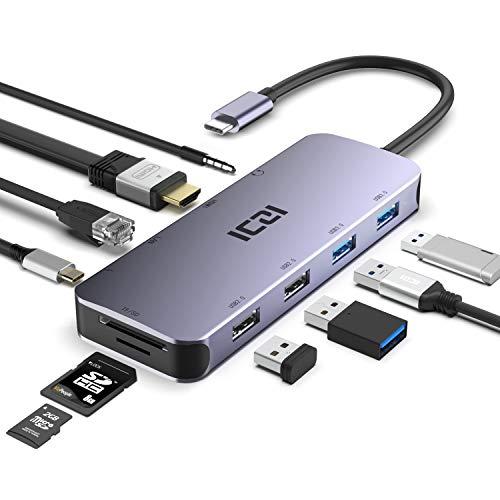 ICZI Hub USB C 10-in-1 Adattatore Tipo C Alluminio con 4 Porta USB 4K HDMI Ethernet LAN Audio Jack Lettore Schede SD TF con PD Porte per dell XPS HP LG Huawei Xiaomi Chromebook ASUS
