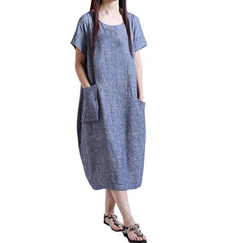 BHYDRY Frauen Kurzarm Baumwolle Leinen Lose Tasche Lange Bohe Kleid Casual ()