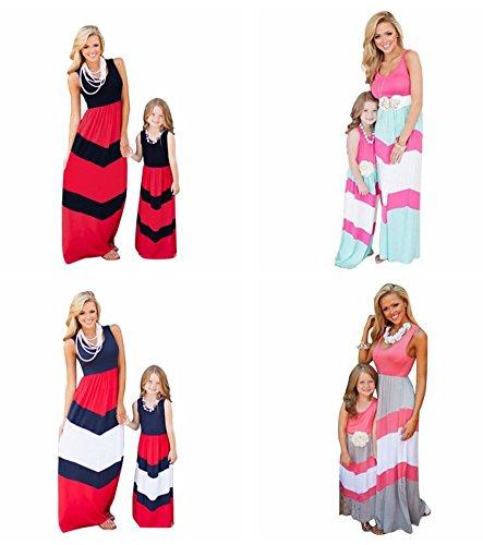 Minetom Mütter und Tochter Familie Sommerkleid Rundhals Ärmellose Kleider Streifen Stitching Weste MaxiKleid A Linie Strandkleid Rosa