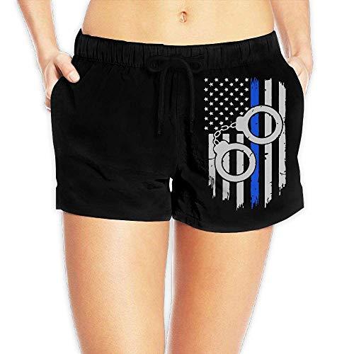 Hwgss Police Handcuffs Thin Blue Line Flag Womens Lightweight Board/Beach Shorts Quick Dry Beachwear with Pockets(S) - Oakley Lightweight Shorts