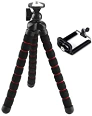 Techlife Fully Flexible Foldable Octopus Tripod Stand with Mobile Holder Adapter (10-inch, Black and Red)