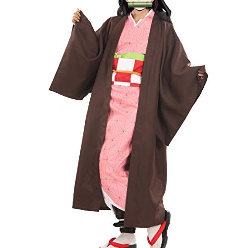 RL Heiße Neue Anime Demon Slayer: Kimetsu Keine Yaiba Cosplay Kamado Nezuko Frau japanische Kleidung Cosplay Kostüm,Full Set-S (Liste Halloween-kostüme Der Besten)