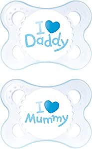 MAM Style I Love Mummy and Daddy SooTher Suitable 0 Months with Sterilisable Travel Case - Pack of 2, Blue