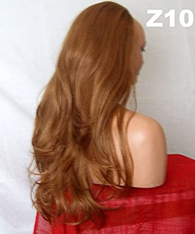 WIG FASHION 24 Inch Ladies 3/4 Half Fall Wig - Sexy Long Layered Flick Wavy Style - AUBURN GINGER MIX - Heat Resistant Synthetic - Clip In Hair Piece Women Extension