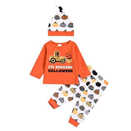 Honestyi Säuglingsbaby Jungen Lange Hülsen Halloween Karikatur Druck Oberseiten+Hose Hut Ausstattung (0 24M) Baby Langarm Kinderwagen Kürbis Print Top Pants Hat Set
