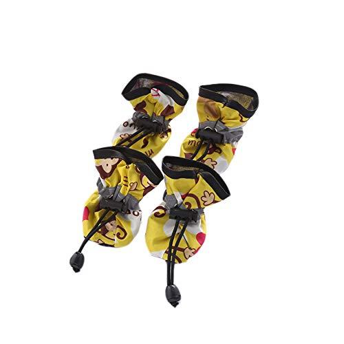 Chinashow Einstellbare kleine Hund Schuhe Set - 4 Stück Rutschfeste Pudel Stiefel Pet Paw Protektoren Cartoon AFFE Print Regen Stiefel Schnee Booties Gelb