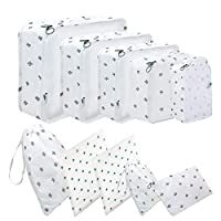 Packing Cubes, 10 Pcs Suitcase Organiser Bags - 10 Different Sizes Travel Luggage Packing Organizers Pouches, High Quality Travel Storage Bags Value Set for Travel (10 Piece, White Cactus)