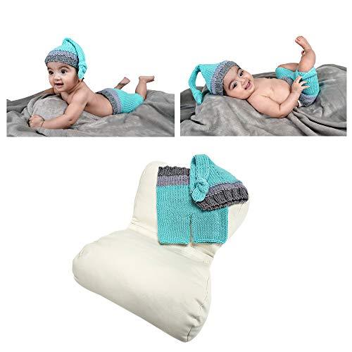 Fotografie-Requisiten-Set für Neugeborene – Schmetterling Posing Kissen – Baby Boy Kostüm Outfit für Fotos und Bilder – Blau und Grau Häkelhose und Hut – für Fotografen und DIY-Mütter und ()