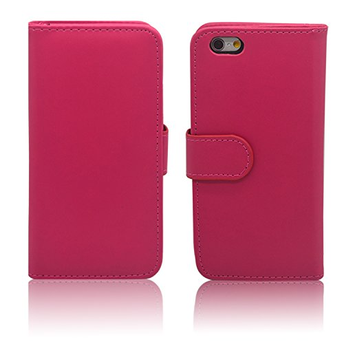 """iProtect Apple iPhone 6 (4,7"""") 6s Hülle im Bookstyle mit Magnetverschluss und Standfunktion Kunstleder Wallet Case schwarz Bookstyle 2 Pink"""