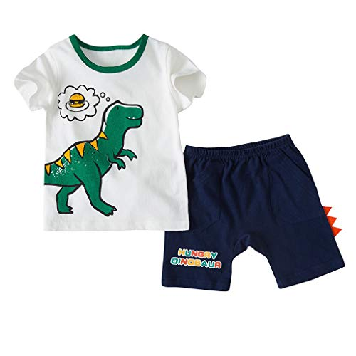 WHSHINE Kind Kurzarm Cartoon Dinosaurier Print T-Shirt Brief Print Shorts für Kinder Zweiteiliges Set Baby Sommer Freizeit Bekleidung Set Sportkleidung T-Shirt