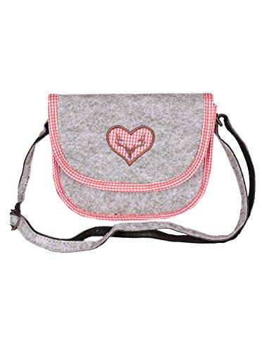 Zwillingsherz Oktoberfest Damen Tasche - Hochwertiges Dirndl Accessoires - Umhängetasche/Filztasche für Frauen Mädchen - Handtasche Bag Schultertasche - stilvoll karriertes Design 20x17x4cm
