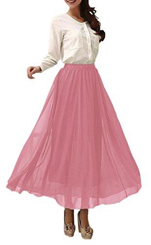Afibi Damen Chiffon Retro Langer Maxi-Rock Weinlese-Kleid (L, Misty Rose)
