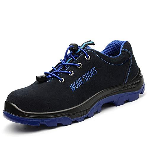 PAMRAY Scarpe da Lavoro da Umno Calzature Antinfortunistiche Sportive Donna Trekking Prova di Puntura Punta d'acciaio Costruzione Stivali Caldo Blu 42