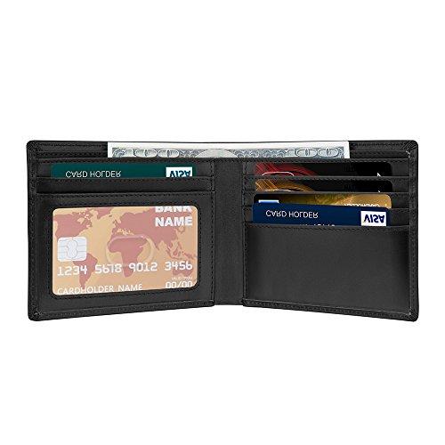 Con la función de bloqueo RFID, proteger su información de tarjetero de crédito del robar.Estructura: 6 ranuras para tarjetas de crédito, 2 amplios bolsillos para dinero, 1 Ventana IDColor de estilo de moda simple, suave y cómodo en cuero Nappa con b...