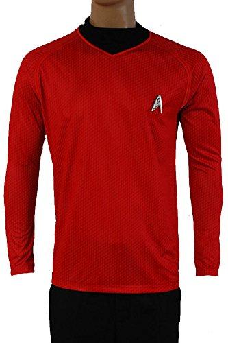 Fuman Star Trek Uniform Scotty Shirt Cosplay Kostüm Rot (Kostüm 9 Trek Von Star 7)