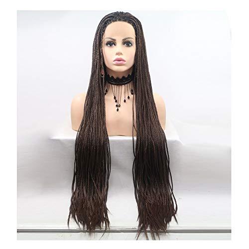 Perücken synthetische geflochtene Haare geflochtene Lace Front Perücke für Frau natürliche schwarze Farbe 24 Zoll