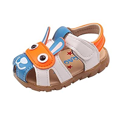 SHOBDW Boys Shoes, Toddler Kids Baby Boys Summer Shoes with Flashing Lights Sandals Cute Cartoon (0-6 Months, Blue)