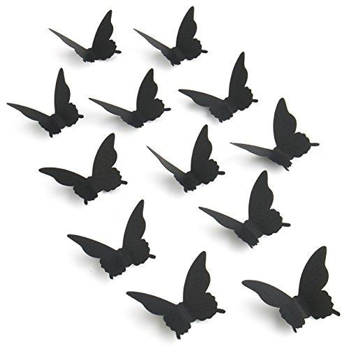 Luxbon 100er Set 3D Schmetterlinge Kinderzimmer Wandtattoo Aufkleber Abziehbilder Wand-dekor mit Klebepunkten Schwarz (Schwarz-wand-aufkleber)