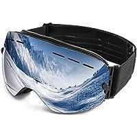 Fmobonus Gafas de Esquí, Gafas de Protección UV400 para Snowboard con TPU Marco Flexible, Anti Niebla Gafas de Esquinar OTG para los Deportivos de Nieve, Ajustable Cinta paraHombre,Mujer, Chicos