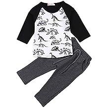 Fossen 1-5 años Niño Camiseta Dinosaurio de Sibujos Animados y Pantalones Largo Conjunto de