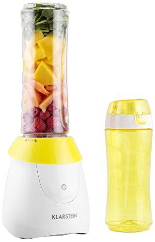 Klarstein Paradise City Batidora de vaso (300W potencia, Tritán Libre de BPA , 2 recipientes apto lavavajillas, cuchillas acero inoxidable, dimensiones compactas, base con ventosa, ideal batidos sopas, mezclas, amarillo blanco)