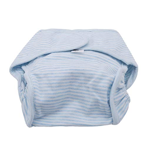 Pinhan-Baby-Weiches Tuch-niappy Windel-Unisexkind-Wiederverwendbare Justierbare Waschbare Trainings-Hosen, Blauer Streifen
