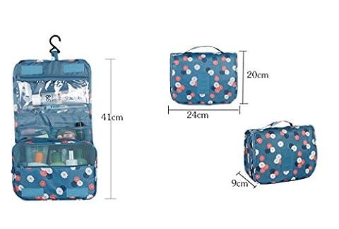 Travel Bag Set Cosmetic Make Up Storage Bag Organizer Folding Bag Large Capacity (Blue)