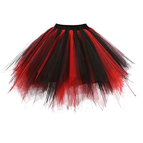DresseverBrand Damen Petticoat 50er Rockabilly Jahre Retro Tutu Ballet Tüllrock Cosplay Crinoline Schwarz-rot - 80's Dance Mädchen Kostüm