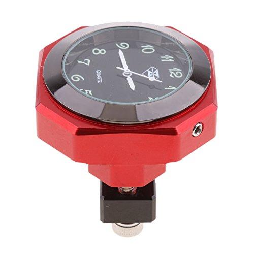 Preisvergleich Produktbild Dolity Universal Motorrad Fahrrad Lenker Mount Wasserdicht Uhr Uhren für alley Motorrad Motorräder Lenkeruhr Universal - rot