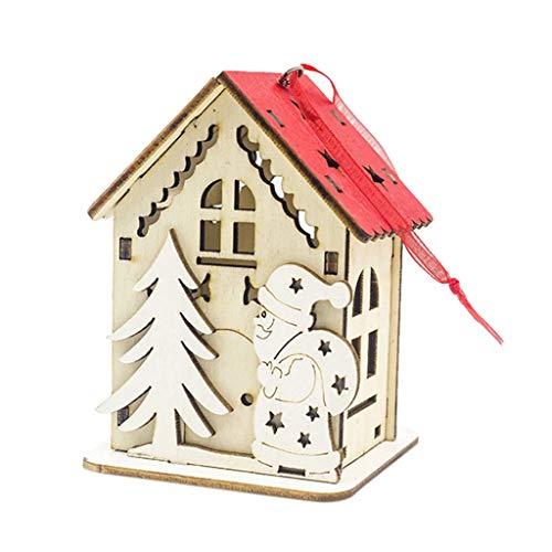HöLzerne Lichterkette Beleuchtete Kabine Kreativ Weihnachten Christbaum Schmuck Feiertags Verzierungen Lampenständer Kinderzimmer Schlafzimmer Dekoration Lichterkette Süße Deko