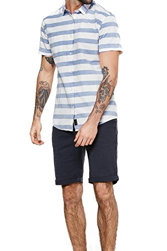 Threadbare Herren Button-down T-Shirt, Gestreift rosa rose Blue/White Stripe