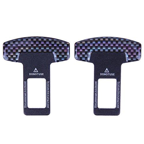 YouN 1 par de hebillas de fibra de carbono para cinturón de seguridad de coche con alarma