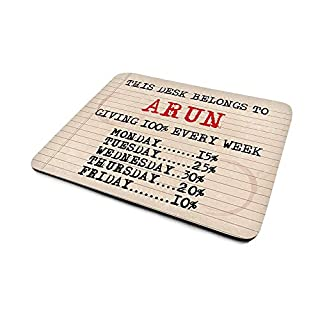 Arun 'Giving 100% Every Week', Funny Personalised Mouse Mat, Retro Typewriter Style Design, Size 230mm x 180mm x 5mm.