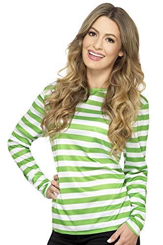 Smiffys Damen, Gestreiftes T-Shirt mit langen Armen, Größe: 44-46, Grün, 46882 - Armee Damen-t-shirt